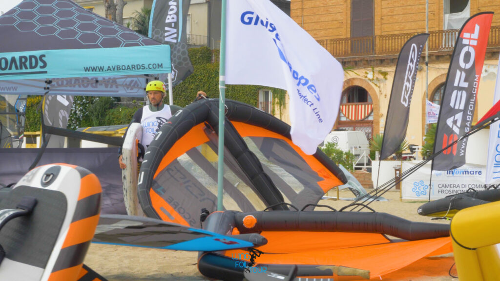 Jan Blæsild ready to hit the Water with his ENSIS SCORE during the Wing Foil Tour